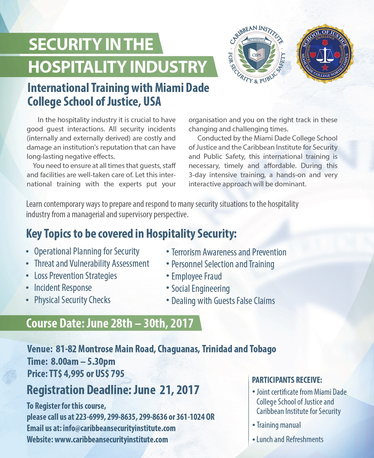 International Training - Security in the Hospitality Industry